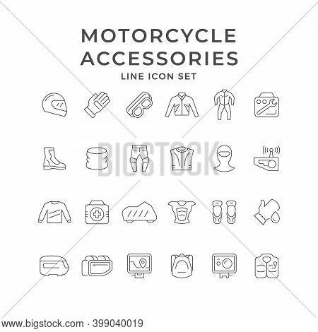 Set Line Icons Of Motorcycle Clothes And Accessories Isolated On White. Overall, Clove, Jacket, Tool