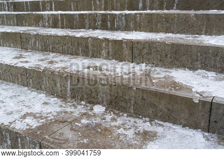 Ice On The Stair Steps Is A Hazard To Pedestrian Traffic.