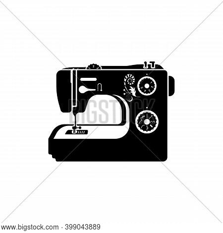 Black Icon Sewing Machine Isolated On Background. Vector Illustration Flat Design. Tool For The Tail