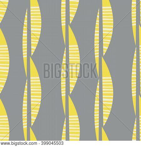 Gray Yellow Mono Print Style Tribal Foliage Seamless Vector Pattern Background. Simple Lino Cut Effe