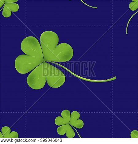 Vector Seamless Clover Tile Irish Shamrock Falling Leaves On Blue Background. Pattren Irish Symbol G
