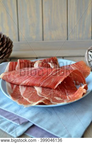 Carpaccio Slices Of Raw Marbled Beef, Vertical Image