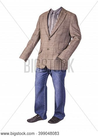 Mens Button Light Brown Jacket, Mens Blue Jeans, Leather Black Shoes And Gray Striped Shirt Isolated