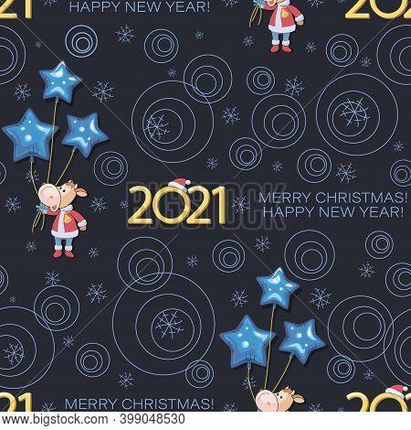 Holiday Calf 2021. Bull. Santa Claus. New Year, Merry Christmas. Cute Little Calf With Balloons.