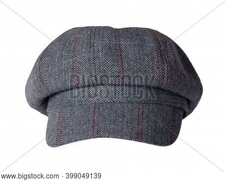 Fashion Gray Red Hat With Visor Isolated On White Background.cap Female. Colored Hat .