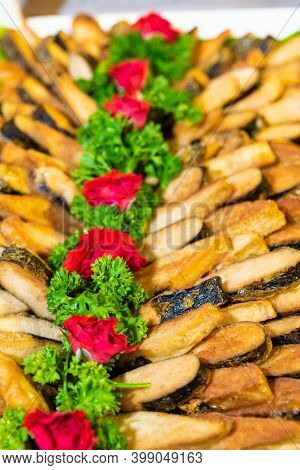 Fried Soy Fish, New Year And Christmas Snack Decorated With Parsley And Rose Flowers, Thailand New Y
