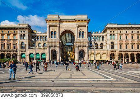 Milan, Italy - Oct 16, 2020: Galleria Vittorio Emanuele and people, Duomo Square, Milan, Italy