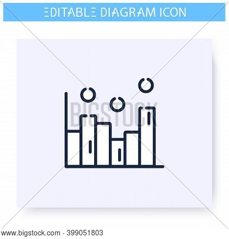 Histogram Line Icon. Statistics Bar Chart. Business, Analytics, Structure Visualisation. Infographic