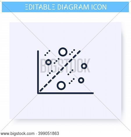 Scatter Plot Line Icon.cartesian Coordinates. Science, Analytics And Business, Visualisation. Infogr