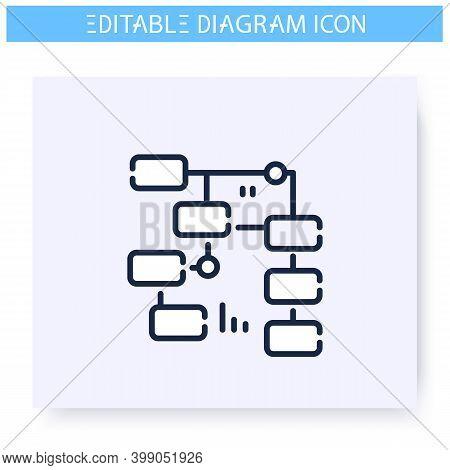 Activity Diagram Line Icon. Workflow Progress Scheme. Business, Management Visualisation. Infographi
