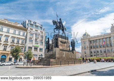 Prague, Czech Republic - July 10, 2020: Statue Of Saint Wenceslas.