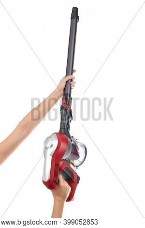 Upright vacuum cleaner to reach small areas on hand isolated
