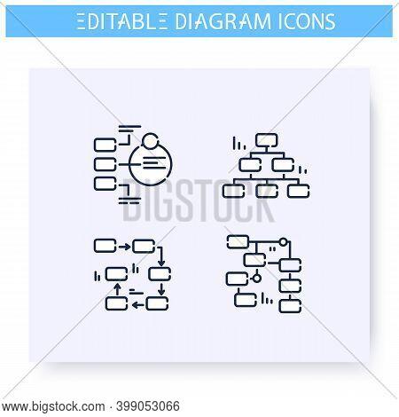 Section Diagram Types Line Icons Set. Business, Management, Structure Visualisation. Infographic, Pr