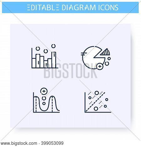 Diagrams Line Icons Set. Information Graphic. Business, Management, Structure Visualisation. Infogra