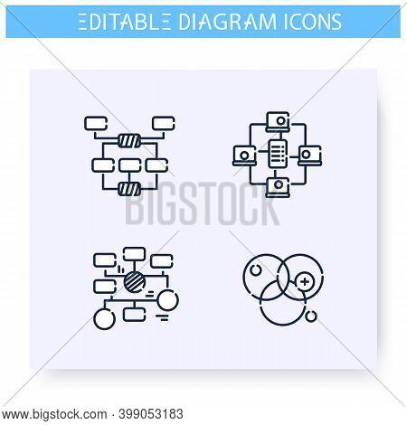 Flowchart Diagram Types Line Icons Set. Information Graphic. Business, Management, Structure Visuali