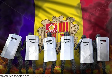 Andorra Protest Fighting Concept, Police Special Forces In Heavy Smoke And Fire Protecting Order Aga