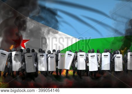 Djibouti Police Special Forces In Heavy Smoke And Fire Protecting Peaceful People Against Revolt - P