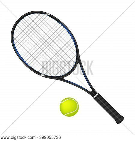 Tennis Racket And Ball Isolated On White, 3d Vector Illustration