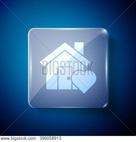 White House With Heart Shape Icon Isolated On Blue Background. Love Home Symbol. Family, Real Estate