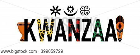 Kwanzaa Word With Symbols And Attributes.unity Cup And Ethnic Mask.principles Signs And Amulets.cele