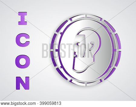 Paper Cut Ancient Coin Icon Isolated On Grey Background. Paper Art Style. Vector