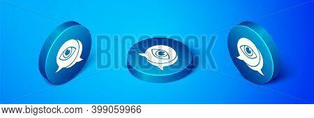 Isometric Eye Scan Icon Isolated On Blue Background. Scanning Eye. Security Check Symbol. Cyber Eye