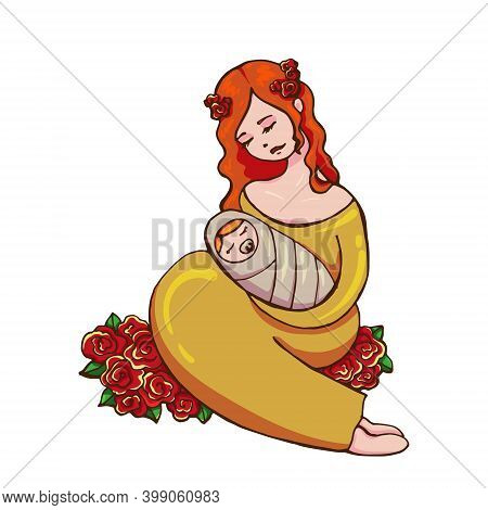 Gentle Vector Cute Young Red-haired Woman In A Gold Dress With A Wreath Lovingly Watching Her Newbor