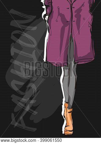 Beautiful Young Woman's Legs In Autumn Coat. Hand Drawn Fashion Girl. Fashion Model Posing. Sketch.