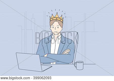 Big Boss, Confident Businessman, Director Concept. Young Businessman Ceo In Golden Crown Head Sittin