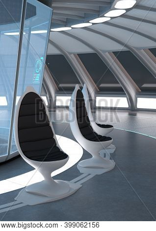 3D Rendering Science Fiction Panorama Room