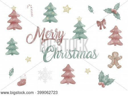 Cute Hand Painted Watercolor Christmas Holiday Elements, Tree, Gingerbread, Holy, Isolated On White