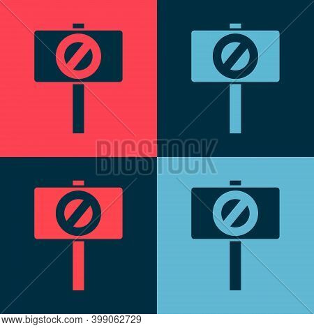 Pop Art Protest Icon Isolated On Color Background. Meeting, Protester, Picket, Speech, Banner, Prote