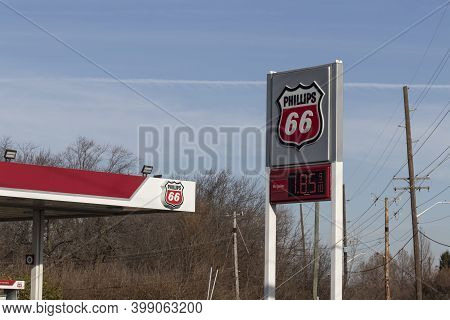 Indianapolis - Circa December 2020: Phillips 66 Company Retail Location. Phillips 66 Is An American