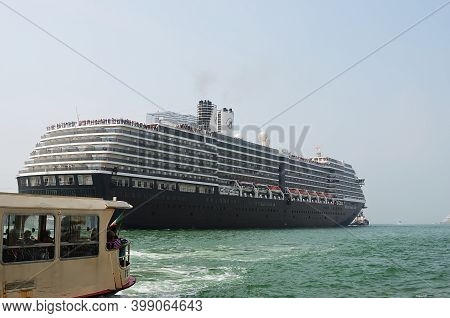 Venice, Italy - Sept 21, 2014:the Cruise Ship Crosses The Venetian Lagoon At Morning. More Than 10 M