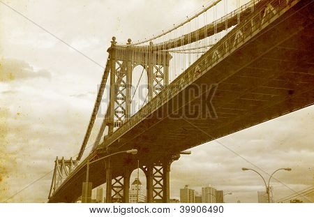 Bridge of New York City, U.S.A. - vintage paper textures.