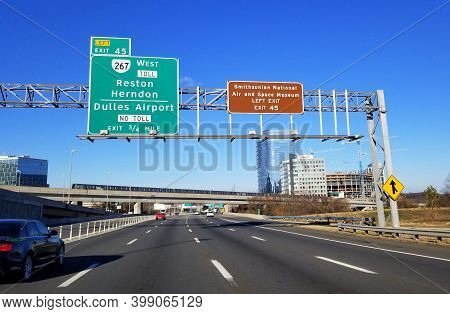 Mclean, Virginia, U.s.a - December 6, 2020 - The View Of The Traffic On Interstate 495 Towards Dulle