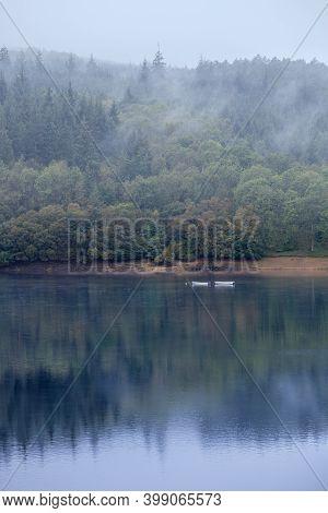 Misty Day On Ladybower Reservoir, In The Peak District National Park, U.k.