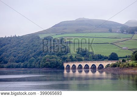 Misty Day On Ladybower Reservoir, In The Peak District National Park.