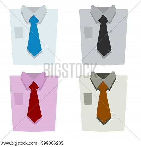 Red Tie And Shirt Collar. Set Of Color Folded Business Clothes. Business Style. Flat Cartoon Illustr