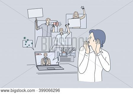 Fear, Negative News In Mass Media Impact In Internet Concept. Stressed Woman Cartoon Character Suffe