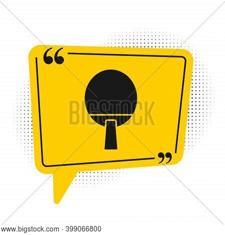 Black Racket For Playing Table Tennis Icon Isolated On White Background. Yellow Speech Bubble Symbol