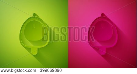 Paper Cut Toilet Urinal Or Pissoir Icon Isolated On Green And Pink Background. Urinal In Male Toilet