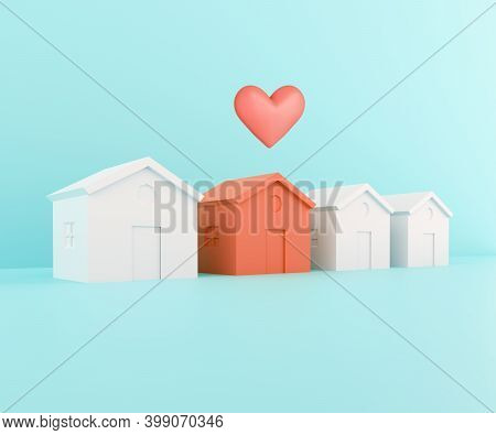 White Houses And One Red. Red Papercraft House With Heart, Beloved Family Home Concept. Searching Fo