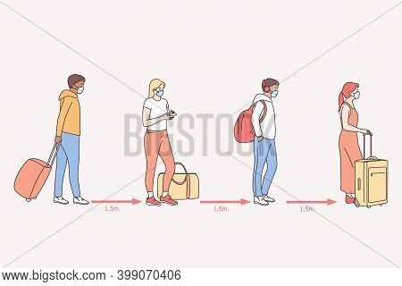 Travel During Coronavirus Covid-19 Disease Outbreak And Pandemic Concept Illustration . Passengers T