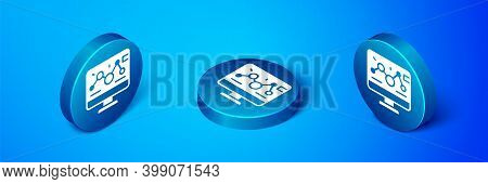 Isometric Genetic Engineering Modification On Laptop Icon Isolated On Blue Background. Dna Analysis,
