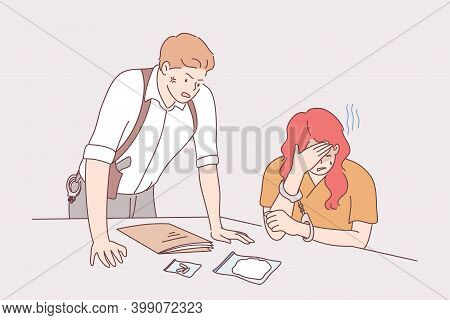 Interrogation Of Suspected Person Concept. Furious Man Police Officer Investigator Cartoon Character