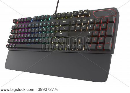 Black Computer Keyboard With Rgb Color Isolated On White With Clipping Path. 3d Rendering Of Streami