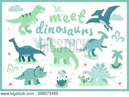 Meet Dinosaurs - Flat Design Style Illustration With Characters