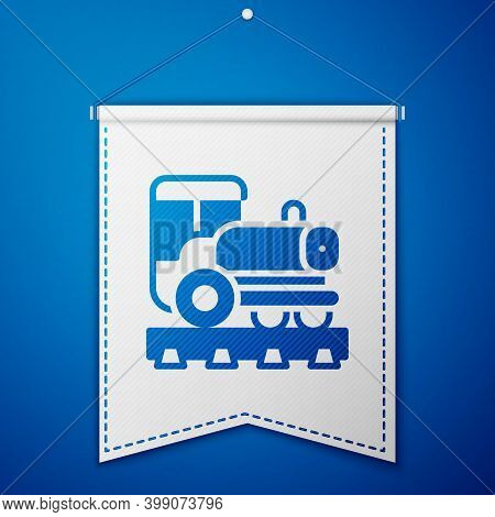Blue Vintage Locomotive Icon Isolated On Blue Background. Steam Locomotive. White Pennant Template.