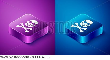 Isometric Skull On Crossbones Icon Isolated On Blue And Purple Background. Happy Halloween Party. Sq